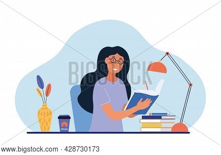Girl Diary Concept. Woman Write Journal. Student Studying With Book. Happy Character Writes Down Pla