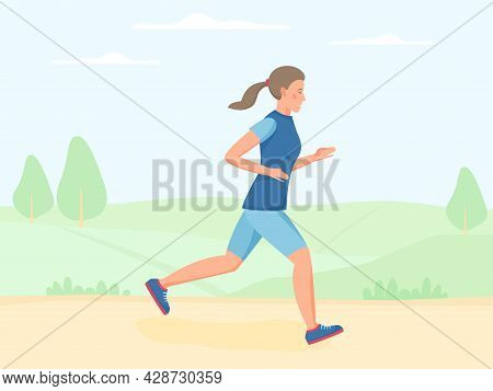 Women Running Outdoor In Summer, Jogging In Park. Doing Exercise And Cardio Workout Outside. Flat Ve