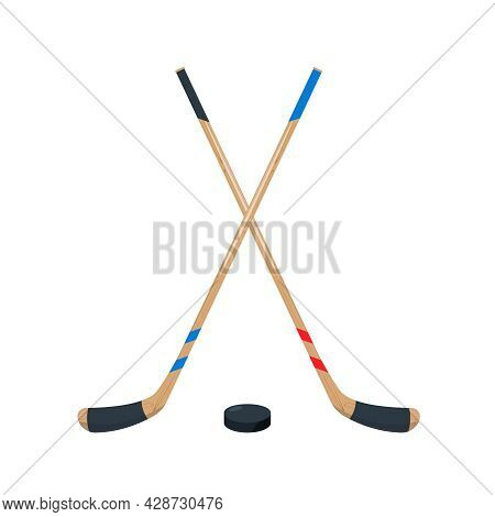 Hockey Sticks And Puck Set. Sport Equipment For Playing Hockey On Ice. Flat Vector Illustration Isol