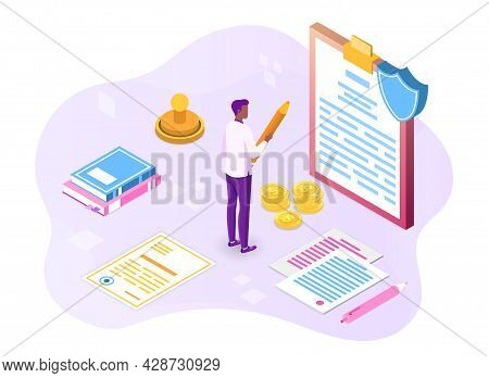 Policies Banner. Business Documents For Law Compliance, Legal Regulation Quality And Procedures. Man
