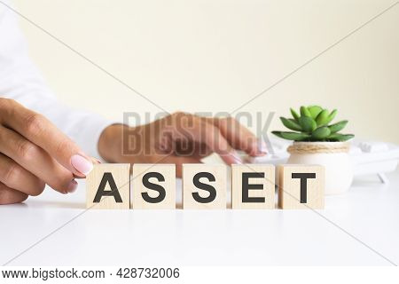 Wooden Blocks With Letters Asset On The Office Desk, Information And Communication Background