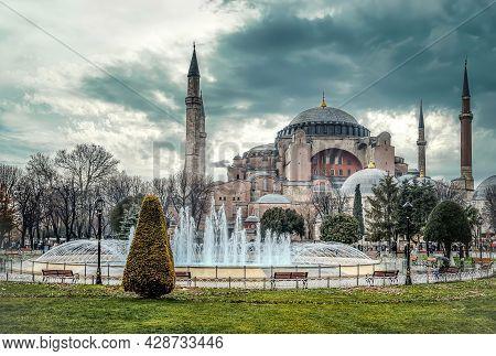 Istanbul, Turkey - January 12, 2013: Hagia Sophia Mosque Dome And Minarets In Sultanahmet Square Und