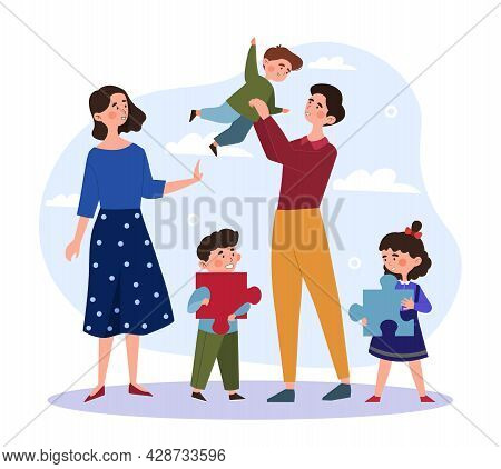 Happy Family Concept. Couple Walks Together With Three Children. Mom, Dad, Sons And Daughter. Happy