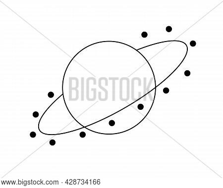 Planet With A Ring For Icon Or Button In Line Art Style. Black Graphic Vector Illustration On White