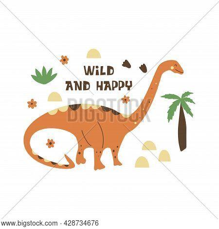 Dinosaur Diplodocus. Sauropod. Large Extinct Ancient Reptile, Jurassic Period. Mesozoic Era. Print I