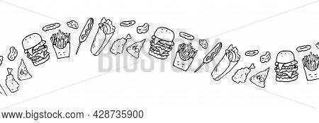 Vector Horizontal Strip From Fast Food. Long Wavy Strip Of Fast Food Elements, Hamburger, Onion Ring