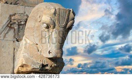 Persepolis, Iran - May 2019: Horse Head In Ruins Of Persepolis, The Capital Of The Achaemenid Empire