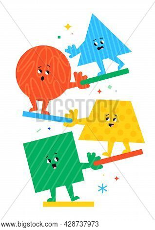 Cute Cartoon Geometric Figures With Different Face Emotions, Circle, Triangle, Square And Trapeze, F
