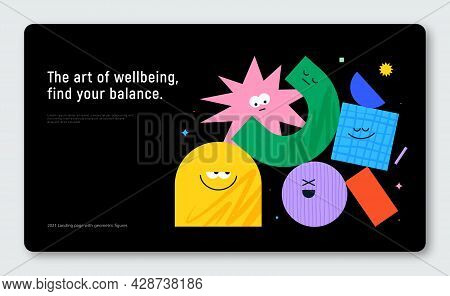 Vector Banner With Character Geometric Figures On Black Background. Cute Cartoon Characters, Colorfu