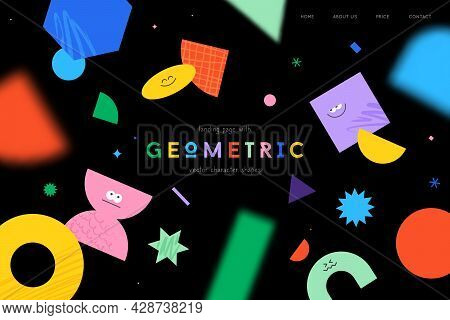 Vector Landing Page With Character Geometric Figures On Black Background. Cute Cartoon Characters, C