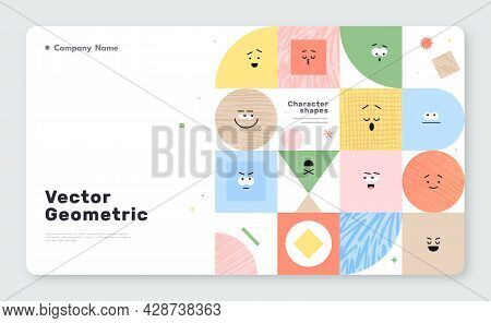 Vector Banner With Character Geometric Figures On White Background. Cute Cartoon Characters, Colorfu