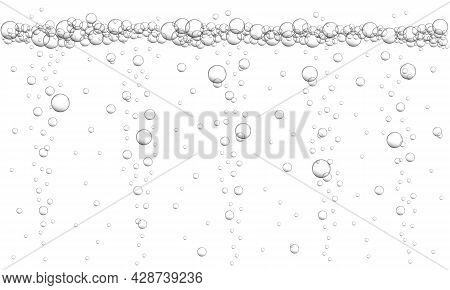 Water Air Bubbles Background. Texture Of Fizzy Carbonated Drink, Seltzer, Beer, Soda, Cola, Lemonade