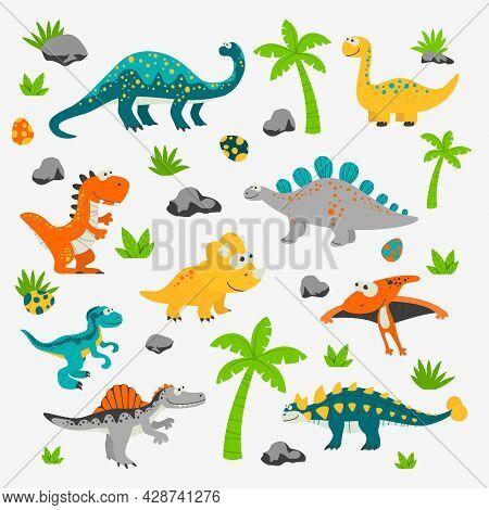 Vector Cute And Funny Flat Dinosaurs - T-rex, Stegosaurus, Velociraptor, Pterodactyl, Brachiosaurus,