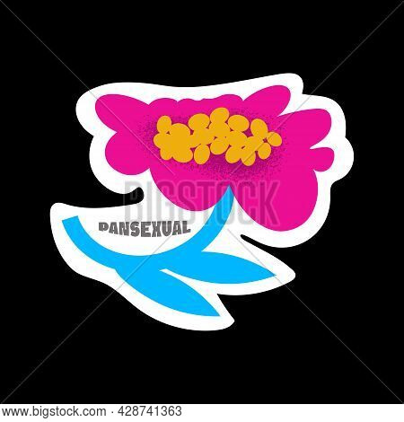 Colorful Isolated Flower With Pansexual Title. Lgbtqia Gender Stickers Collection. Vector Illustrati