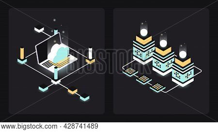 Set Of Two Isometric Blockchain Illustrations. Digital Money, Fintech Collage. Vector Illustration