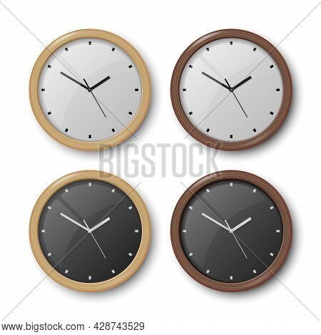 Vector 3d Realistic Wooden Wall Office Clock Icon Set Isolated On White. White Dial, Black Dial. Des