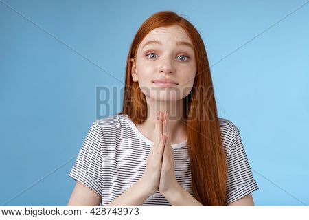 Clingy Cute Nice Redhead European Girl Asking Favour Cup Hands Together Pray Gesture Say Please Anti