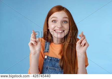 Excited Emotional Happy Cheerful Redhead Girl Smiling Optimistic Stare Surprised Thrilled Cross Fing