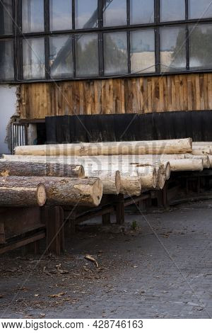 Storage Of Piles Of Wooden Boards On The Sawmill. Sawing Drying And Marketing Of Wood. Pine Lumber F