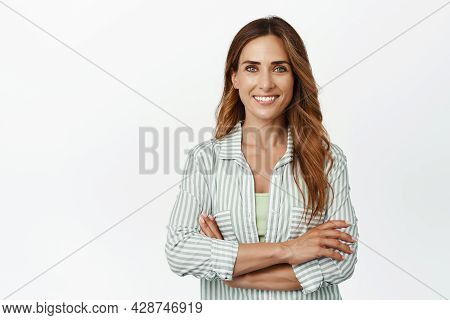Ambitious And Confident Business Woman, Female Entrepreneur Standing With Arms Crossed And Smiling S