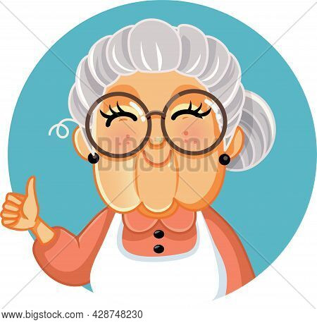 Happy Grandma Making Appreciation Gesture Vector Illustration