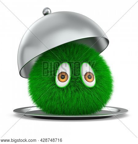 open metallic cloche and furry monster  on white background. Isolated 3d illustration