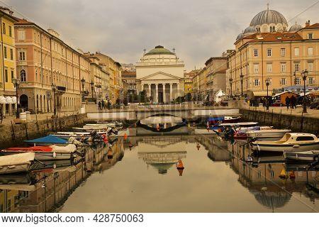 Trieste, Italy 31 December 2017. Canale Grande And Church Of Sant'antonio Taumaturgo In Trieste, Ita