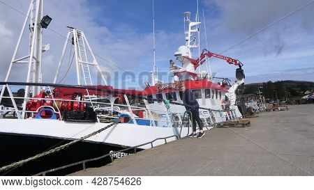 Fishing Boats And Equipment At Greencastle Harbour Co Donegal On 14th May 2021