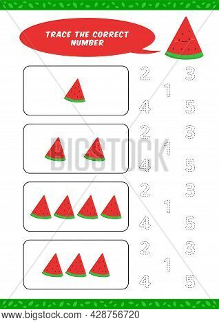 Preschool Counting Learn Worksheet Tracing Writing Number Activity Vector Template With Cute Waterme