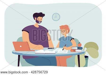 Dad Helping His Son Doing His Homework. Flat Vector Illustration. Parent And Child Sitting At Table,