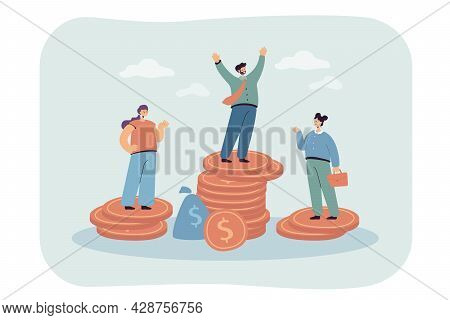 Male And Female Characters Standing On Unequal Money Stacks. Flat Vector Illustration. Business Peop