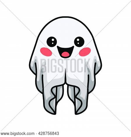 Vector Illustration Of Cartoon Cute Halloween White Ghost