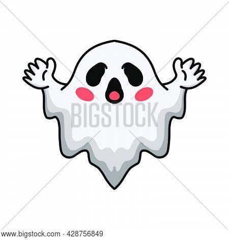 Vector Illustration Of Cartoon Cute Halloween White Ghost Raising Hands