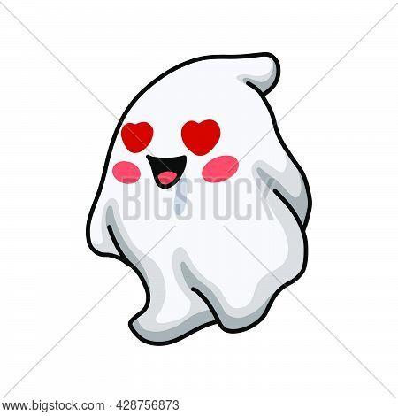 Vector Illustration Of Cartoon Cute Ghost In Love