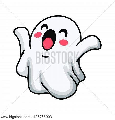 Vector Illustration Of Cartoon Cute Halloween Ghost Raising Hands