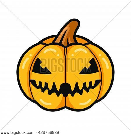 Vector Illustration Of Cartoon Orange Pumpkin With Scary Face Expression
