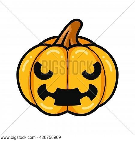 Vector Illustration Of Cartoon Orange Pumpkin With Angry Face Expression