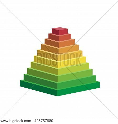Pyramid Scheme 10 Ten Steps. Vector Hierarchy Level Chart Graph, Green Red Yellow Diagram Structure.