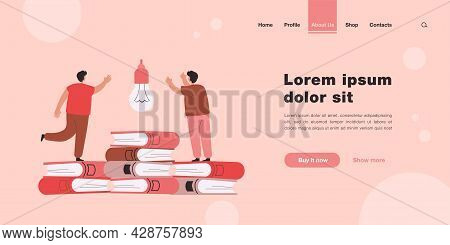 Boys Searching For Startup Idea. Male Characters Standing On Books Flat Vector Illustration. Educati