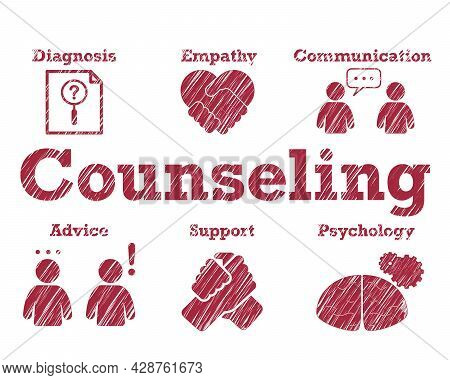 Counseling Typography Calligraphy Text Lettering For Banner Poster Flyer With Blur Style