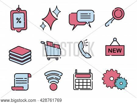 On Line Shopping Icon Likes Calculator, Phone, Basket, Notes, Price List That Colored Blue And Red V