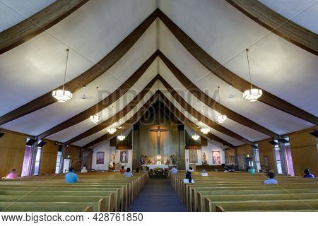 Santa Clara, California - August 3, 2021: Our Lady of Peace Church and Shrine in Santa Clara, California, USA.