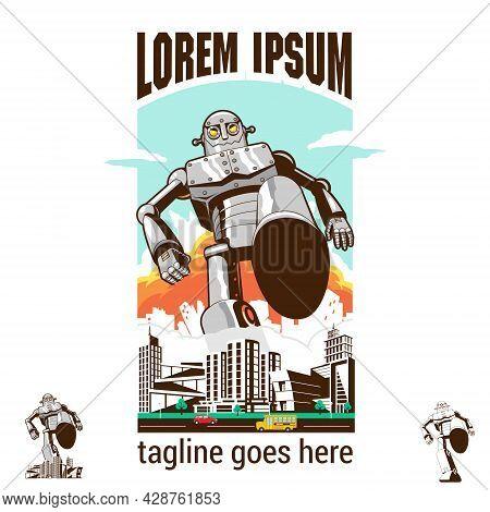 Bad Robot Stomping On City Asset Retro Style Vector Illustration For Poster, T-shirt Print, Logo, De