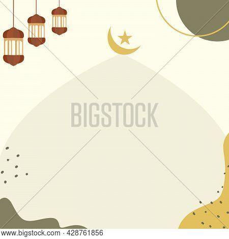 Decorative Background With Pastel Colored With The Mosque, Lamp, Star Crescent As Islamic Icon