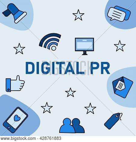 Digital Pr Public Relations Using Social Media As Communication Tools Phone Blue Illustration