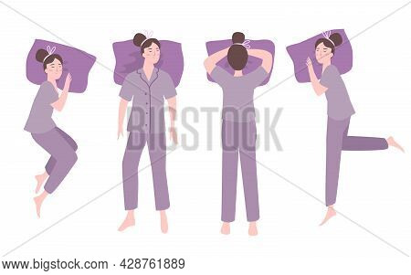 The Various Of Four Woman Sleeping Position With Purple Pajamas And Their Purple Pillows Makes Relax
