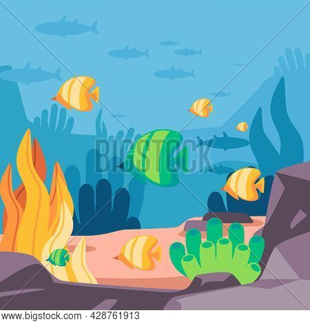 Background With Yellow And Green Fishes Hard Coral Starfish In Blue Marine Can Be Used As A Poster F