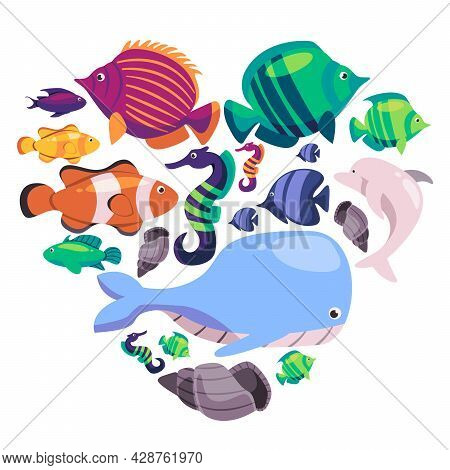 Any Various Fish Collection Set That Colored Blue Green Orange Blue Black With The White Background