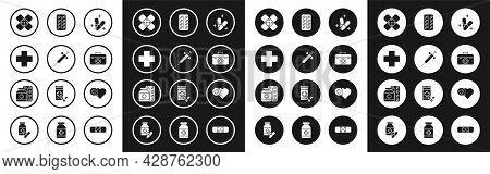 Set Medicine Pill Or Tablet, Syringe, Cross Hospital Medical, Crossed Bandage Plaster, First Aid Kit