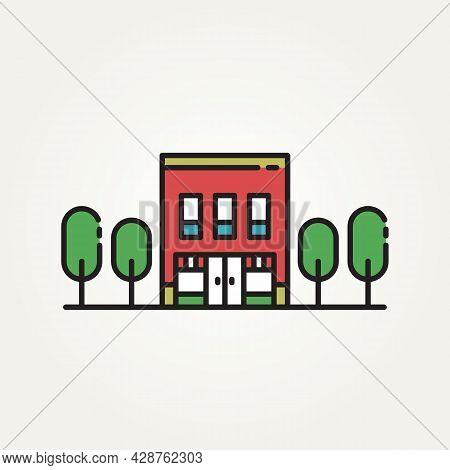 Isolated Store Market Building Minimalist Flat Line Art Logo Icon Template Vector Illustration Desig